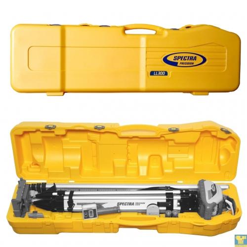 Dėžė patogiam lazerinio nivelyro komplekto su trikoju ir matuokle transportavimui
